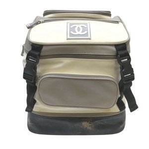Auth Chanel Sport Line Back Pack Cream #N78527H34